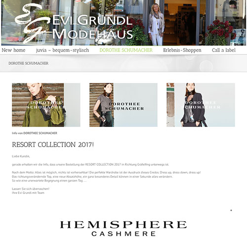 Modehaus Grundl, Website